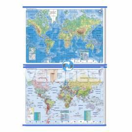 Mapa Fis./pol. Doble Faz Planisferio 95x130 Cm.