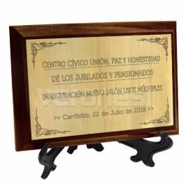 Plaqueta C/placa Dorada Bicapa 13x18