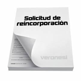 Solicitud Reincorporacion Cuat. F.865 C X 50